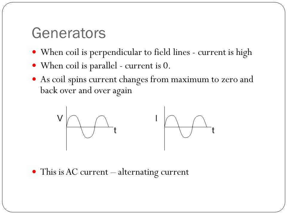 Generators When coil is perpendicular to field lines - current is high When coil is parallel - current is 0.