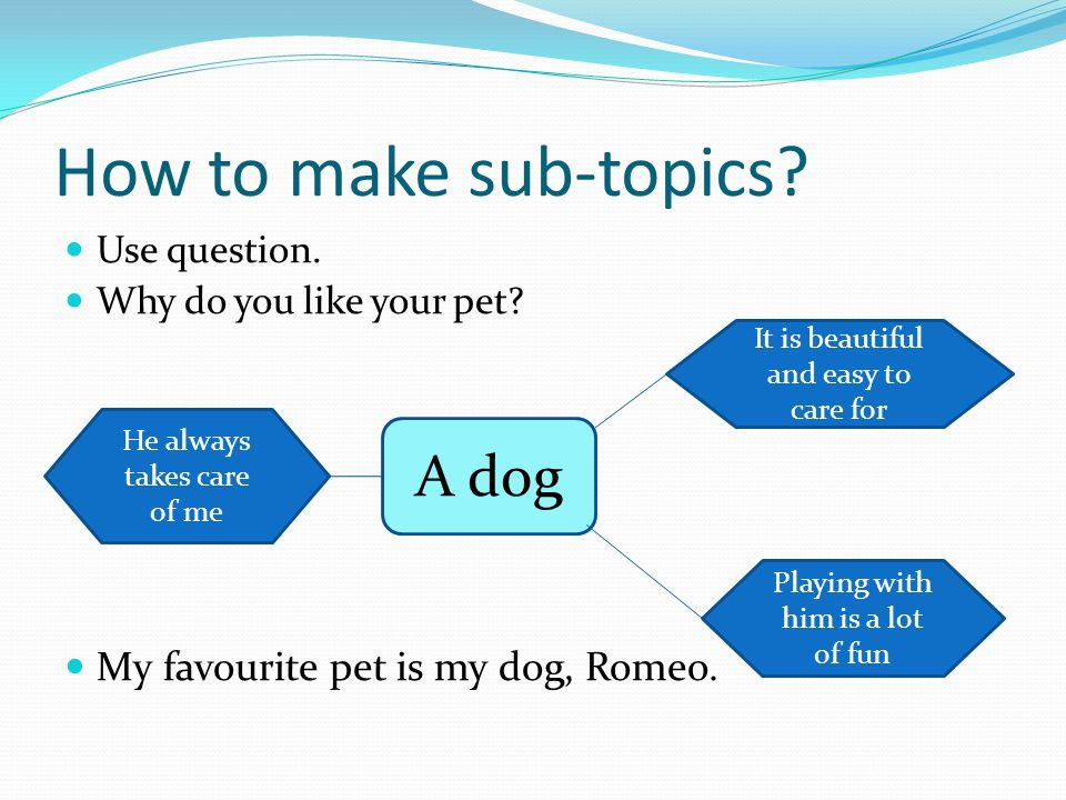 How to make sub-topics. Use question. Why do you like your pet.