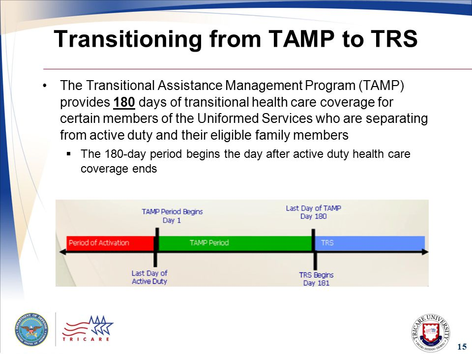 15 Transitioning from TAMP to TRS The Transitional Assistance Management Program (TAMP) provides 180 days of transitional health care coverage for certain members of the Uniformed Services who are separating from active duty and their eligible family members  The 180-day period begins the day after active duty health care coverage ends