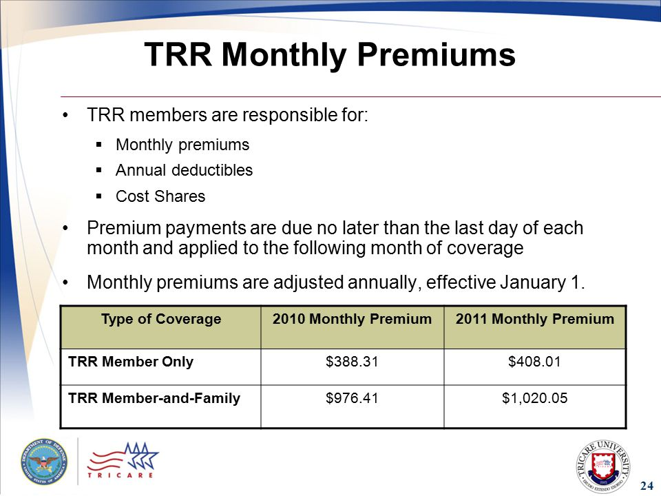 24 TRR Monthly Premiums TRR members are responsible for:  Monthly premiums  Annual deductibles  Cost Shares Premium payments are due no later than the last day of each month and applied to the following month of coverage Monthly premiums are adjusted annually, effective January 1.