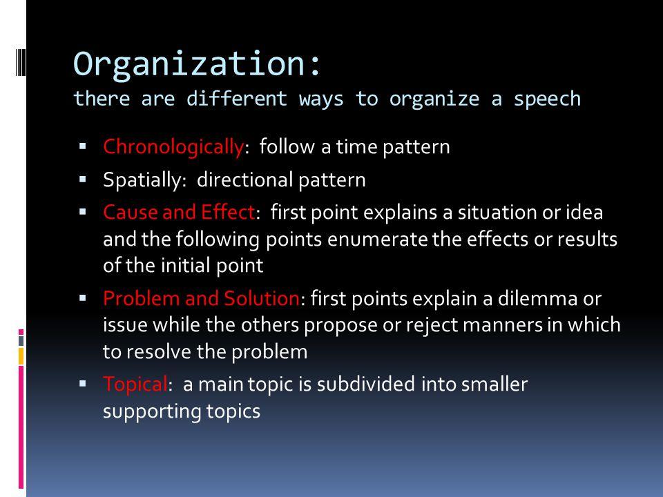 types of speech organization