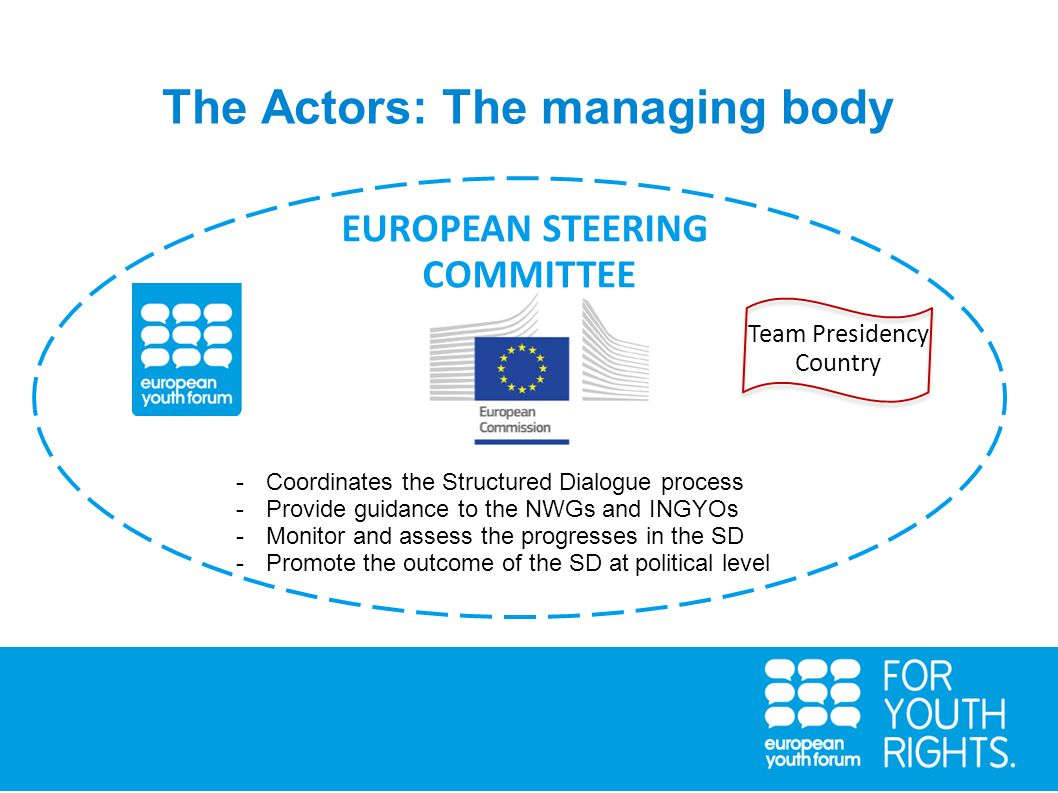 The Actors: The managing body Team Presidency Country EUROPEAN STEERING COMMITTEE -Coordinates the Structured Dialogue process -Provide guidance to the NWGs and INGYOs -Monitor and assess the progresses in the SD -Promote the outcome of the SD at political level