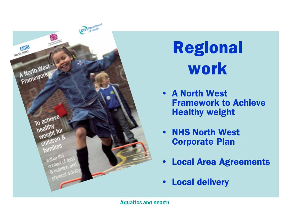 Aquatics and health A North West Framework to Achieve Healthy weight NHS North West Corporate Plan Local Area Agreements Local delivery Regional work