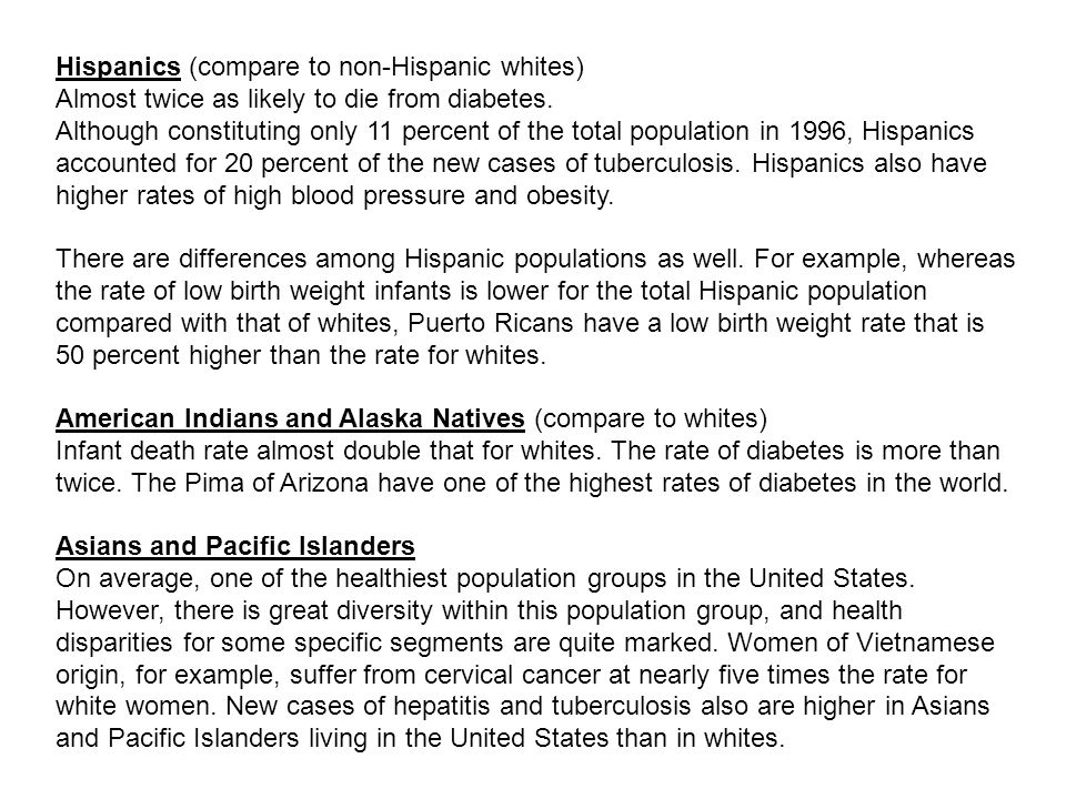 Hispanics (compare to non-Hispanic whites) Almost twice as likely to die from diabetes.