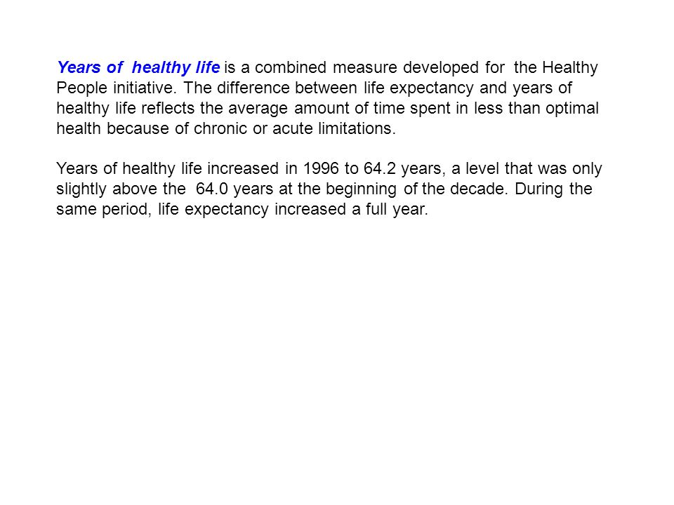 Years of healthy life is a combined measure developed for the Healthy People initiative.