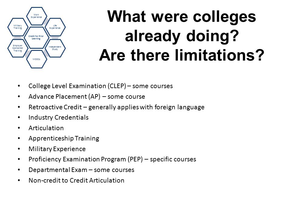 What were colleges already doing. Are there limitations.