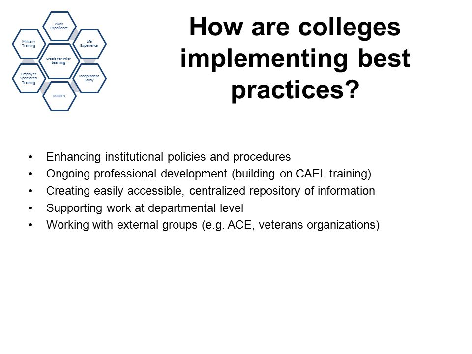 How are colleges implementing best practices.