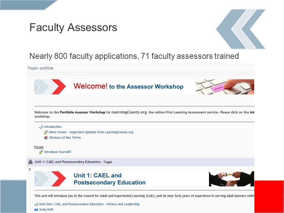 Faculty Assessors Nearly 800 faculty applications, 71 faculty assessors trained Online training for assessors (example , screenshot )