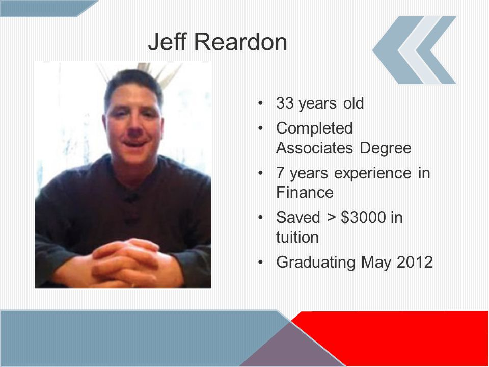 33 years old Completed Associates Degree 7 years experience in Finance Saved > $3000 in tuition Graduating May 2012 Jeff Reardon