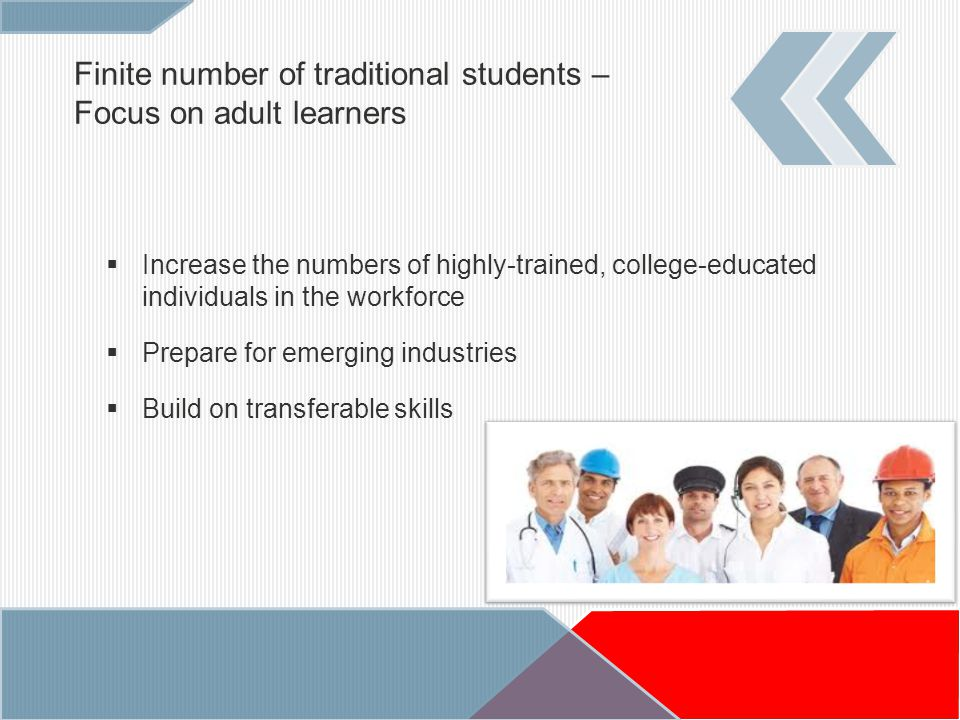 Finite number of traditional students – Focus on adult learners  Increase the numbers of highly-trained, college-educated individuals in the workforce  Prepare for emerging industries  Build on transferable skills