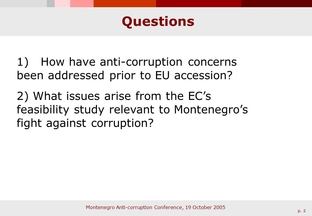 Montenegro Anti-corruption Conference, 19 October 2005 p.