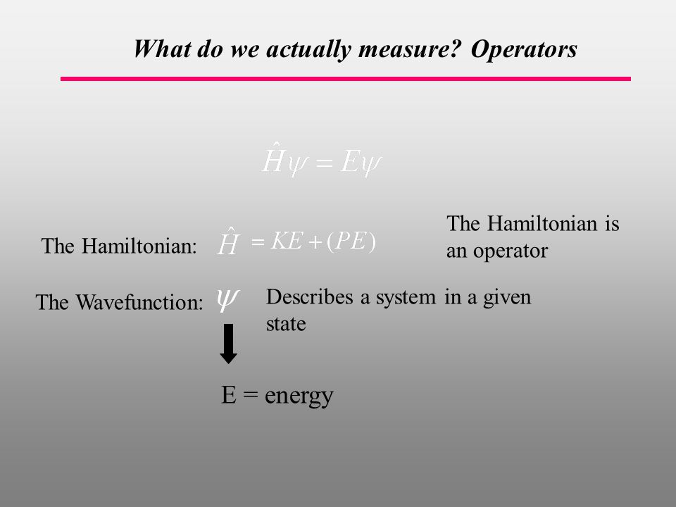 The Hamiltonian: The Wavefunction: E = energy Describes a system in a given state The Hamiltonian is an operator What do we actually measure.