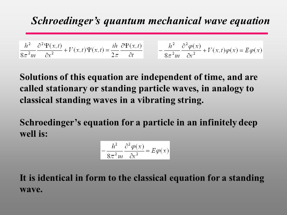 Schroedinger's quantum mechanical wave equation Solutions of this equation are independent of time, and are called stationary or standing particle waves, in analogy to classical standing waves in a vibrating string.