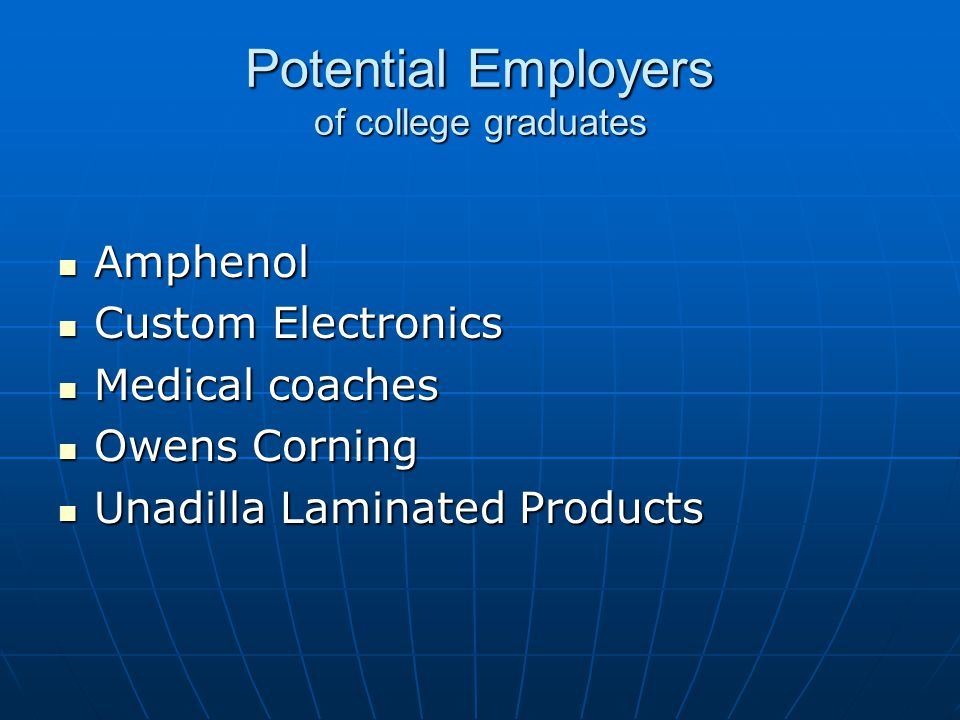 Potential Employers of college graduates Amphenol Amphenol Custom Electronics Custom Electronics Medical coaches Medical coaches Owens Corning Owens Corning Unadilla Laminated Products Unadilla Laminated Products