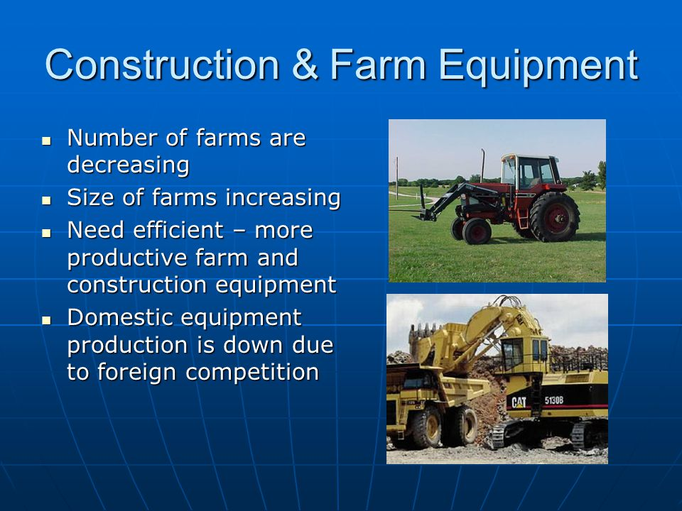 Construction & Farm Equipment Number of farms are decreasing Number of farms are decreasing Size of farms increasing Size of farms increasing Need efficient – more productive farm and construction equipment Need efficient – more productive farm and construction equipment Domestic equipment production is down due to foreign competition Domestic equipment production is down due to foreign competition