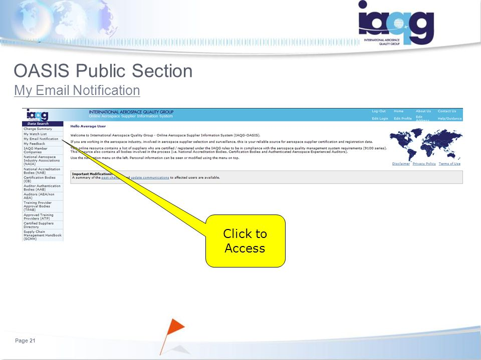 Oasis User Training For Certification Bodies Part 1 Public Section