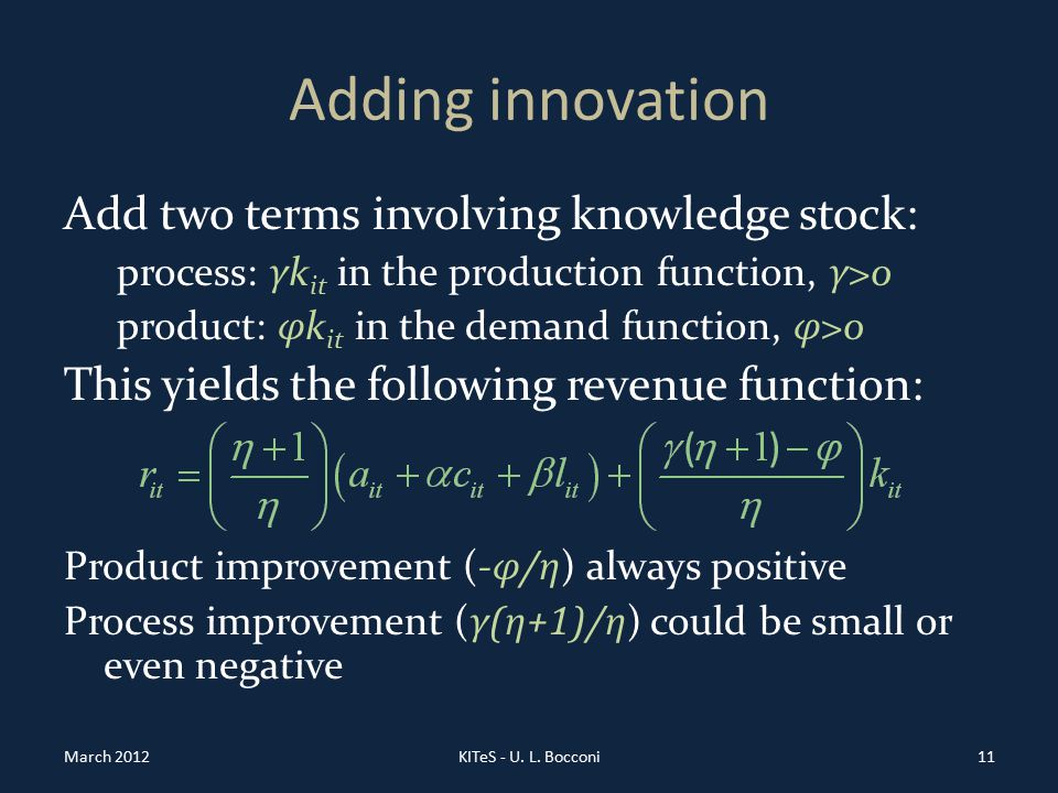Adding innovation Add two terms involving knowledge stock: process: γ k it in the production function, γ >0 product: φ k it in the demand function, φ >0 This yields the following revenue function: Product improvement (- φ/η ) always positive Process improvement ( γ(η+1)/η ) could be small or even negative March 2012KITeS - U.