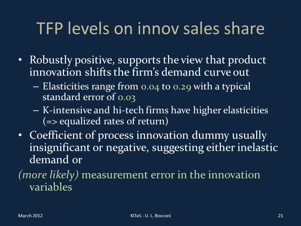 TFP levels on innov sales share Robustly positive, supports the view that product innovation shifts the firm's demand curve out – Elasticities range from 0.04 to 0.29 with a typical standard error of 0.03 – K-intensive and hi-tech firms have higher elasticities (=> equalized rates of return) Coefficient of process innovation dummy usually insignificant or negative, suggesting either inelastic demand or (more likely) measurement error in the innovation variables March 2012KITeS - U.