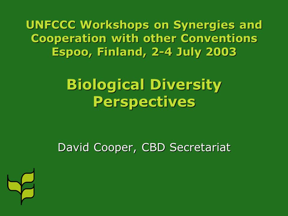 UNFCCC Workshops on Synergies and Cooperation with other Conventions Espoo, Finland, 2-4 July 2003 Biological Diversity Perspectives David Cooper, CBD Secretariat