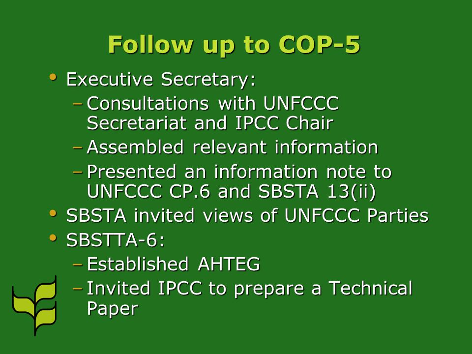 Follow up to COP-5 Executive Secretary: Executive Secretary: –Consultations with UNFCCC Secretariat and IPCC Chair –Assembled relevant information –Presented an information note to UNFCCC CP.6 and SBSTA 13(ii) SBSTA invited views of UNFCCC Parties SBSTA invited views of UNFCCC Parties SBSTTA-6: SBSTTA-6: –Established AHTEG –Invited IPCC to prepare a Technical Paper
