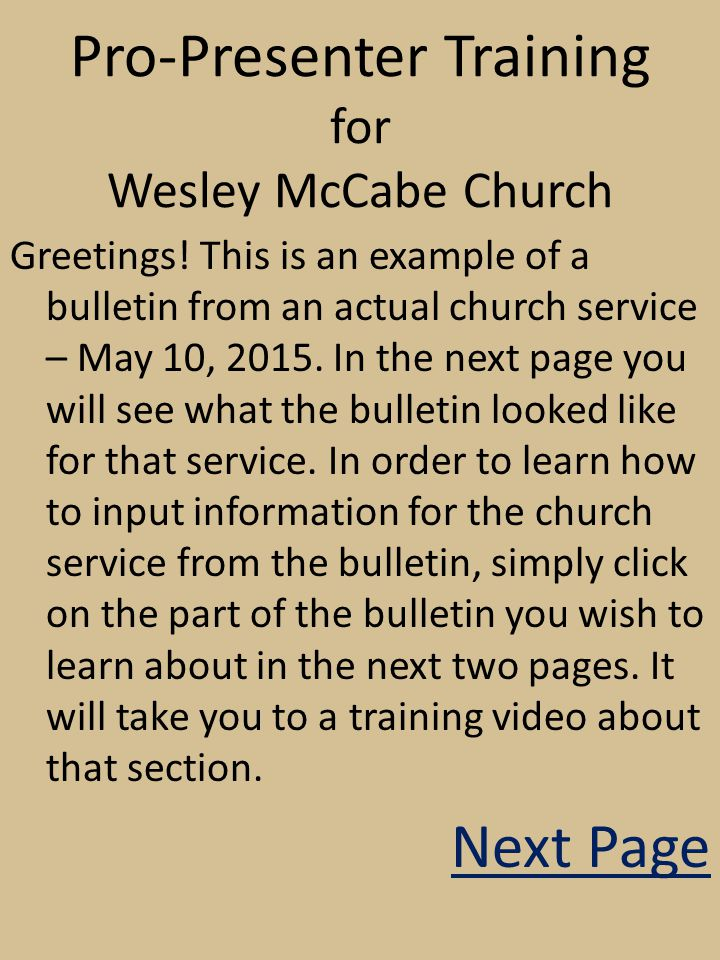pro presenter training for wesley mccabe church greetings this is