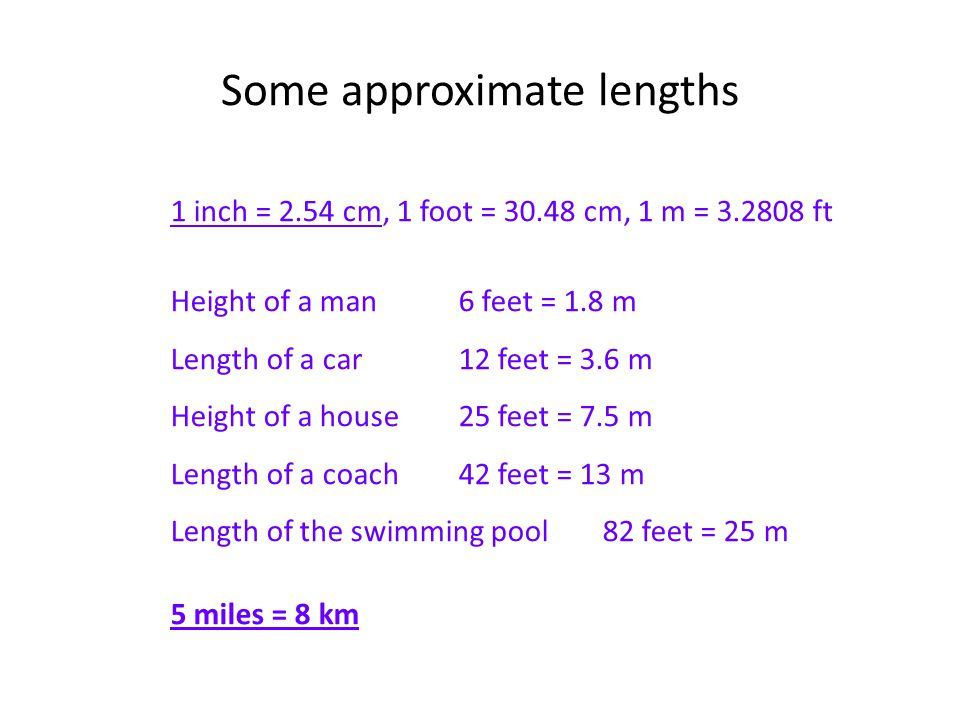 4 Some Approximate Lengths 1 Inch 254 Cm Foot