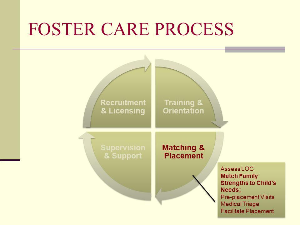 FOSTER CARE PROCESS Training & Orientation Matching & Placement Supervision & Support Recruitment & Licensing Assess LOC Match Family Strengths to Child's Needs; Pre-placement Visits Medical Triage Facilitate Placement Assess LOC Match Family Strengths to Child's Needs; Pre-placement Visits Medical Triage Facilitate Placement