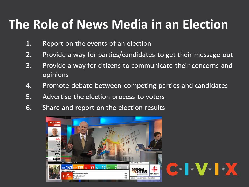The Role of News Media in an Election 1.Report on the events of an election 2.Provide a way for parties/candidates to get their message out 3.Provide a way for citizens to communicate their concerns and opinions 4.Promote debate between competing parties and candidates 5.Advertise the election process to voters 6.Share and report on the election results