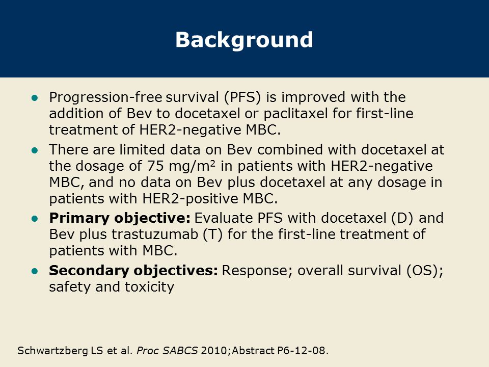 Background Progression-free survival (PFS) is improved with the addition of Bev to docetaxel or paclitaxel for first-line treatment of HER2-negative MBC.