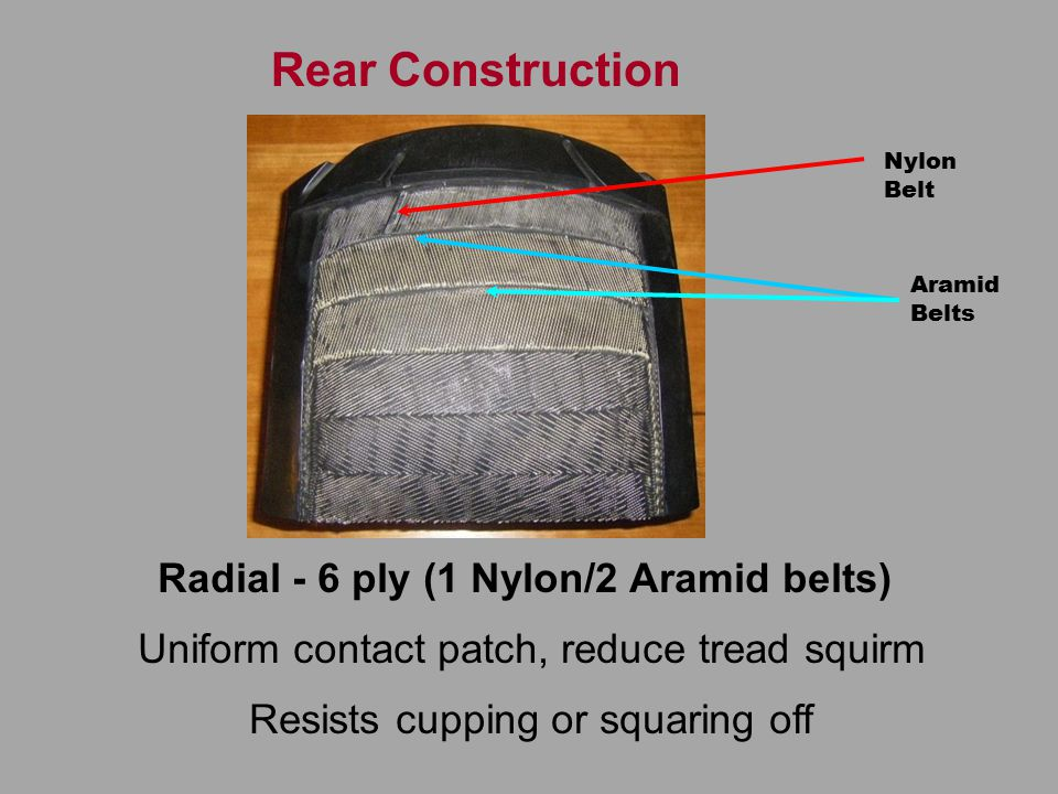 Rear Construction Radial - 6 ply (1 Nylon/2 Aramid belts) Uniform contact patch, reduce tread squirm Resists cupping or squaring off Nylon Belt Aramid Belts