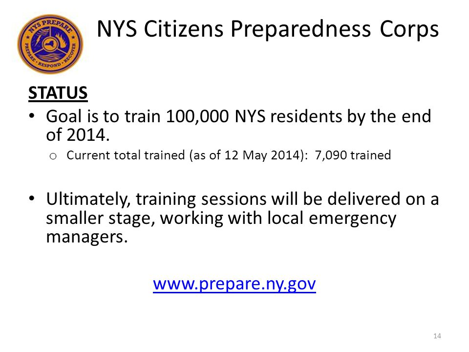 STATUS Goal is to train 100,000 NYS residents by the end of 2014.