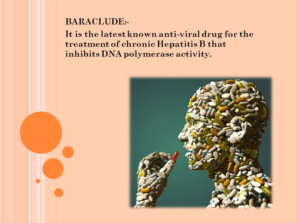 BARACLUDE:- It is the latest known anti-viral drug for the treatment of chronic Hepatitis B that inhibits DNA polymerase activity.