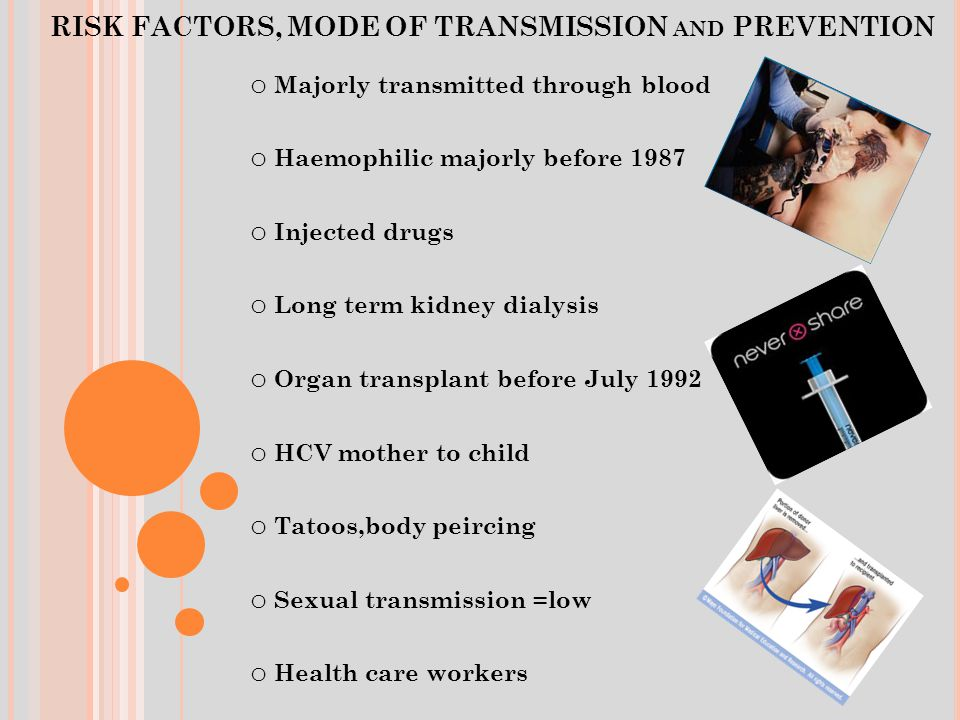 RISK FACTORS, MODE OF TRANSMISSION AND PREVENTION o Majorly transmitted through blood o Haemophilic majorly before 1987 o Injected drugs o Long term kidney dialysis o Organ transplant before July 1992 o HCV mother to child o Tatoos,body peircing o Sexual transmission =low o Health care workers