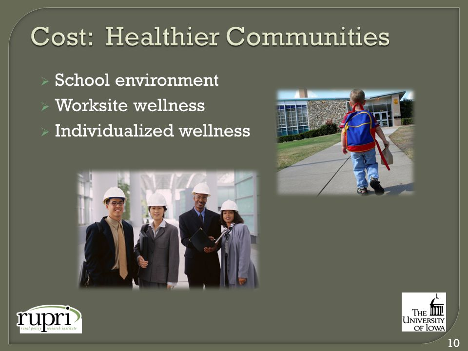  School environment  Worksite wellness  Individualized wellness 10