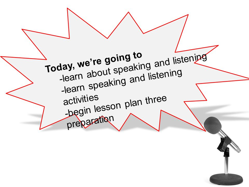 Speaking Listening and Today, we're going to -learn about speaking