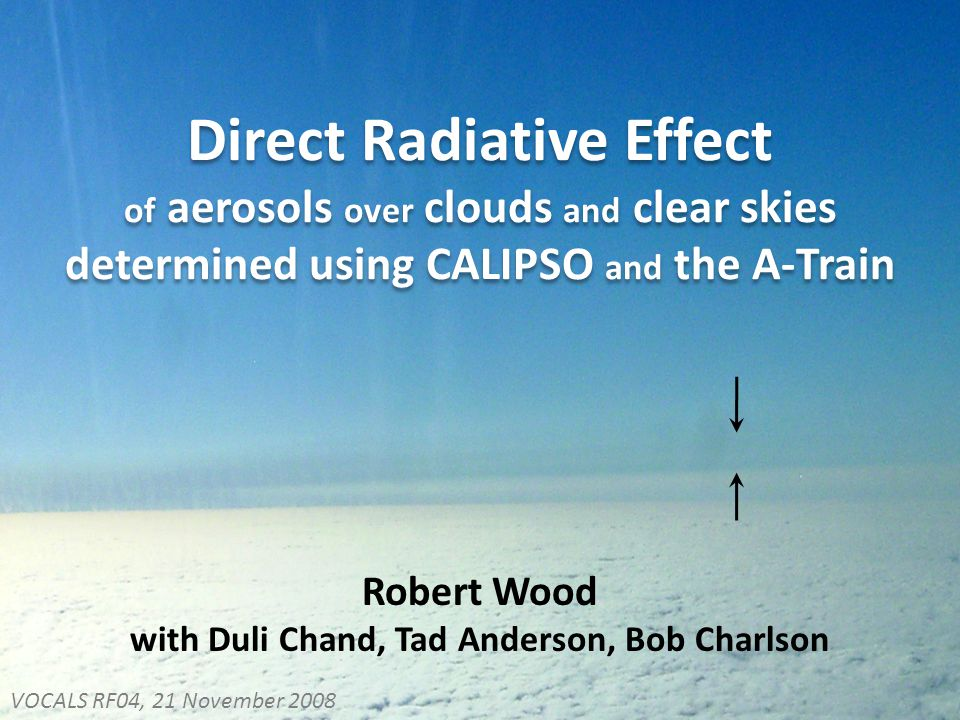 Direct Radiative Effect of aerosols over clouds and clear skies determined using CALIPSO and the A-Train Robert Wood with Duli Chand, Tad Anderson, Bob Charlson VOCALS RF04, 21 November 2008