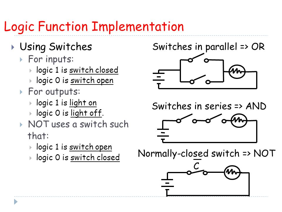  Using Switches  For inputs:  logic 1 is switch closed  logic 0 is switch open  For outputs:  logic 1 is light on  logic 0 is light off.