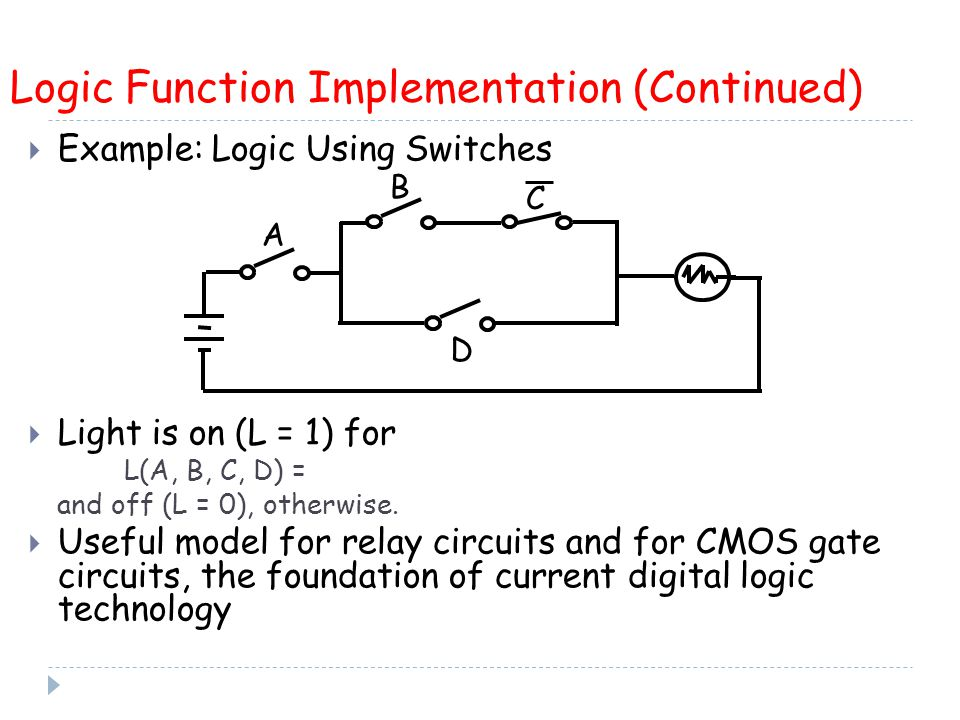  Example: Logic Using Switches  Light is on (L = 1) for L(A, B, C, D) = and off (L = 0), otherwise.