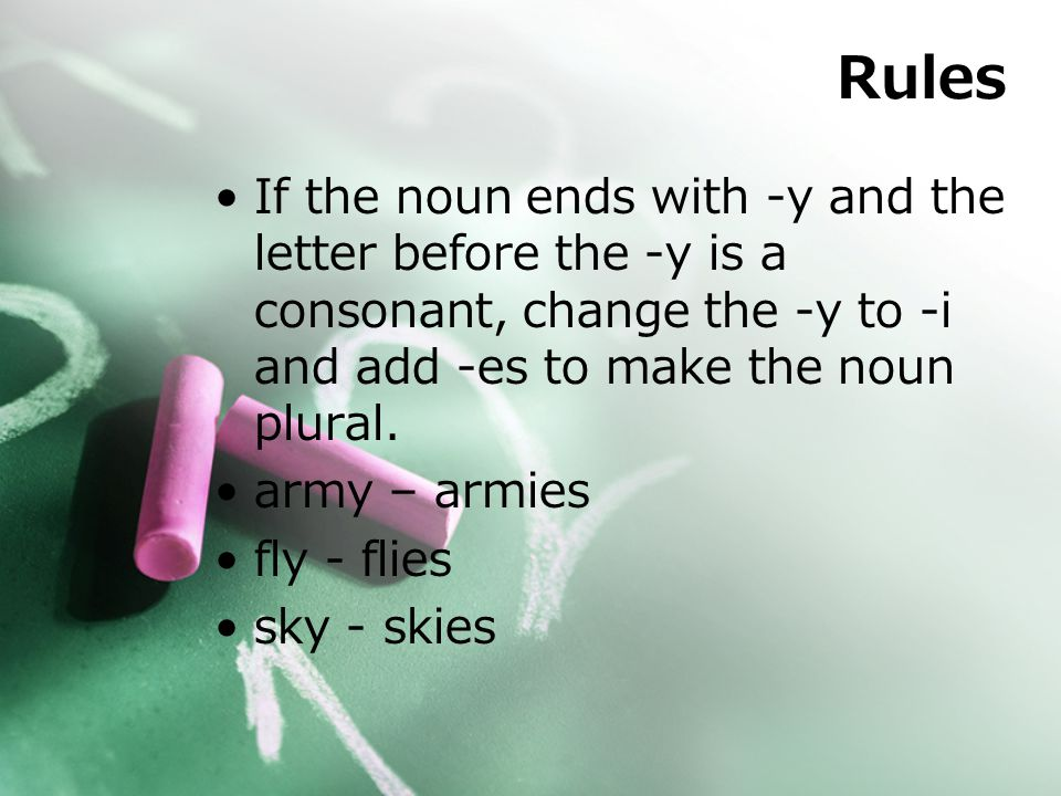 Rules If the noun ends with -y and the letter before the -y is a consonant, change the -y to -i and add -es to make the noun plural.
