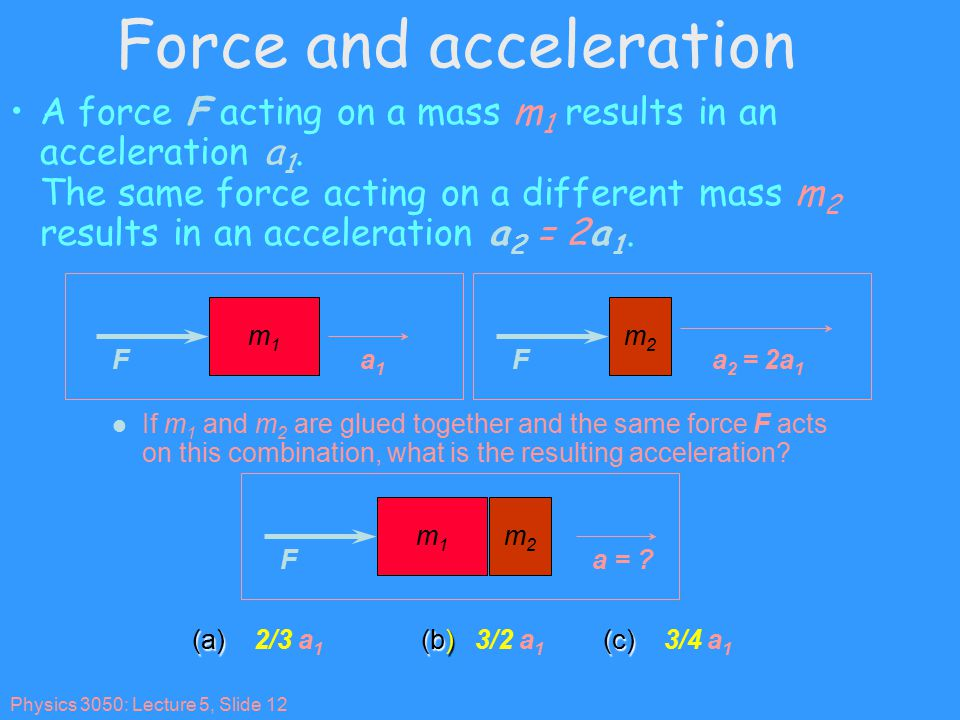 Physics 3050: Lecture 5, Slide 12 Force and acceleration A force F acting on a mass m 1 results in an acceleration a 1.