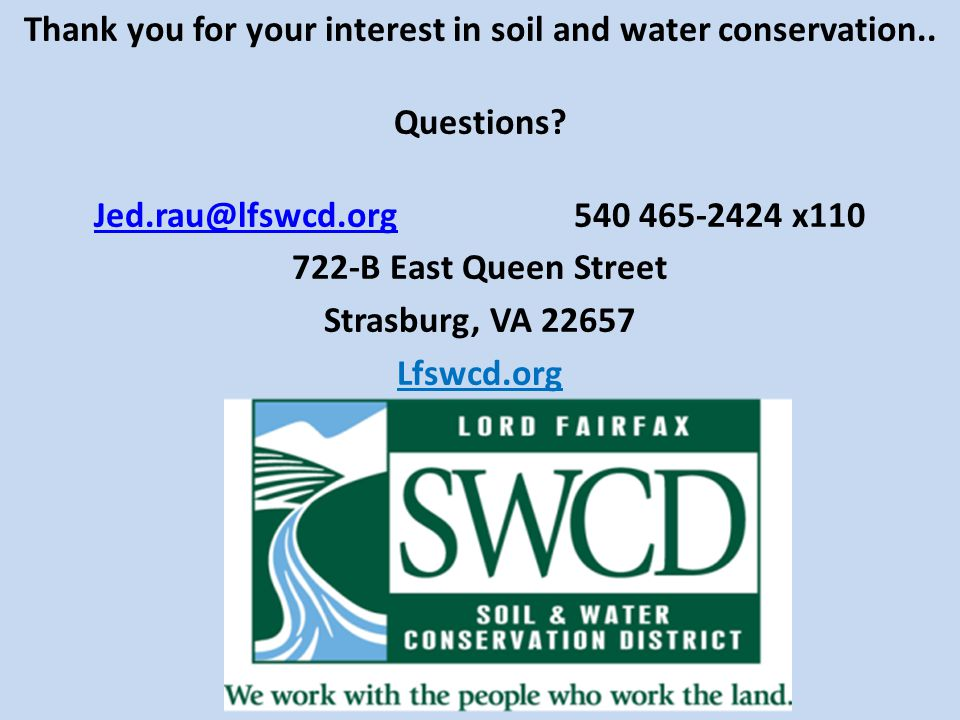 Thank you for your interest in soil and water conservation..