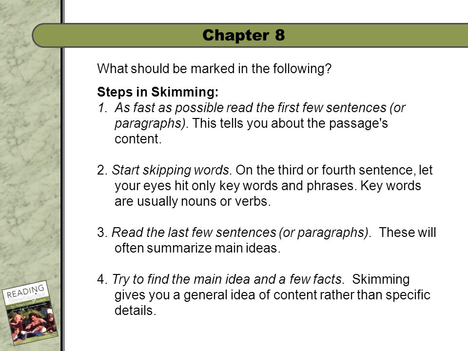 Chapter 8 What should be marked in the following.