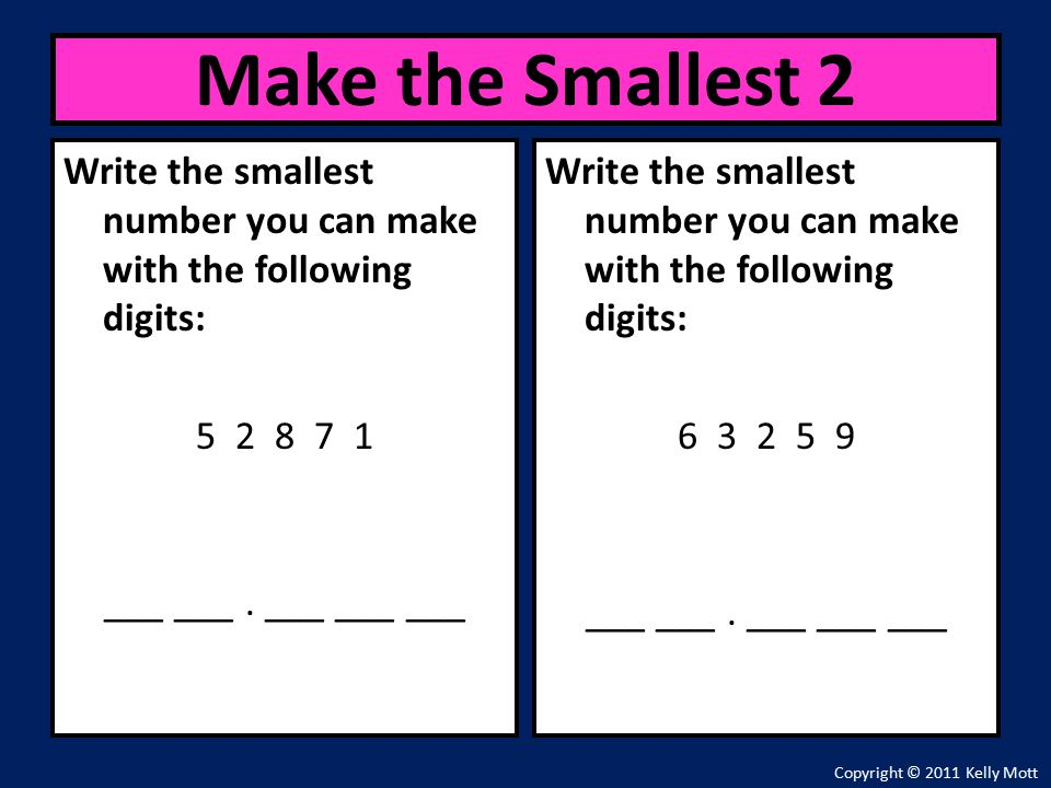 Write the smallest number you can make with the following digits: ___ ___.