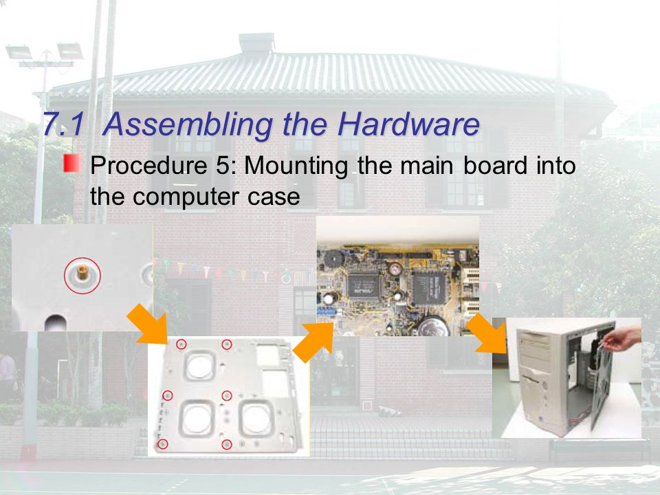 7.1Assembling the Hardware Procedure 5: Mounting the main board into the computer case