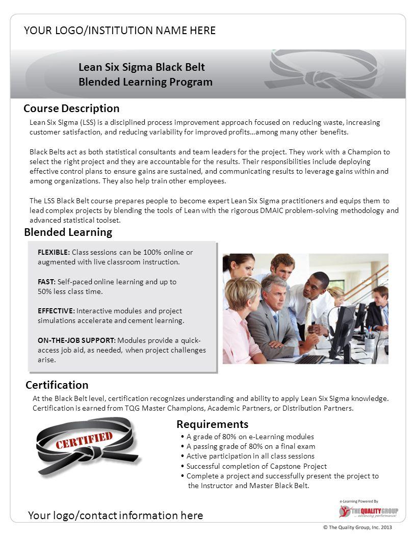 Lean Six Sigma Black Belt Blended Learning Program Course