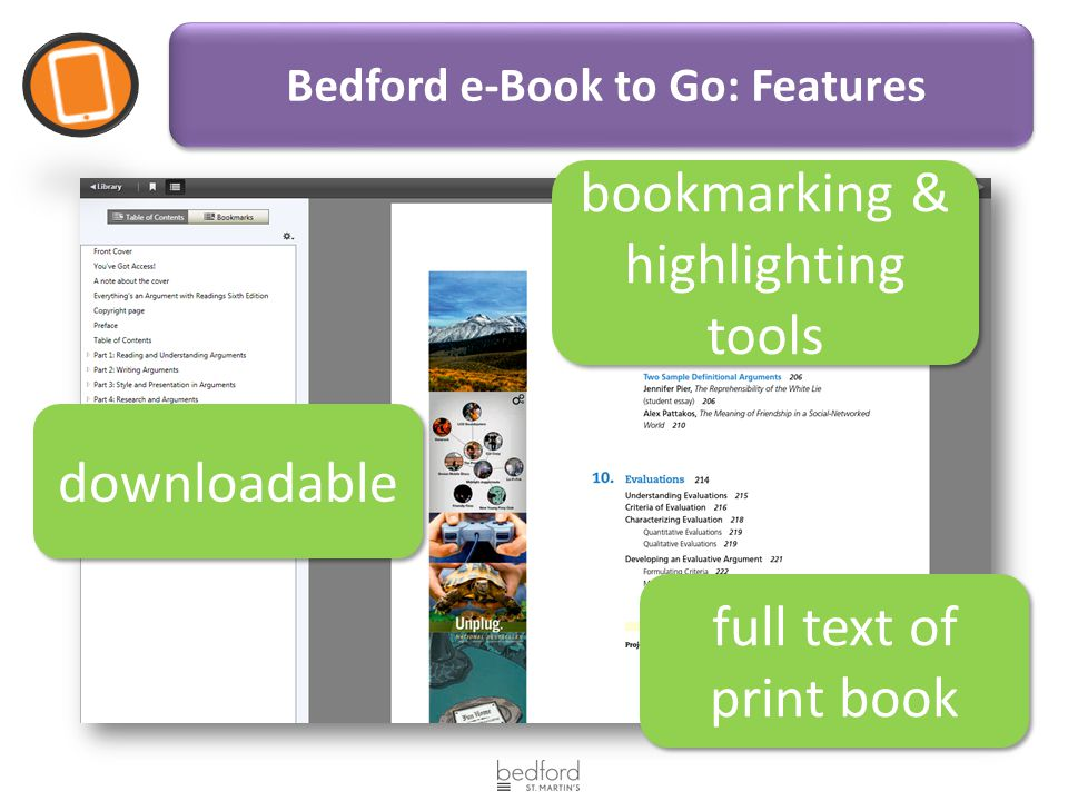 E book options for everythings an argument 6 th edition andrea a 3 bedford e book to go features downloadable bookmarking highlighting tools full text of print book fandeluxe Gallery
