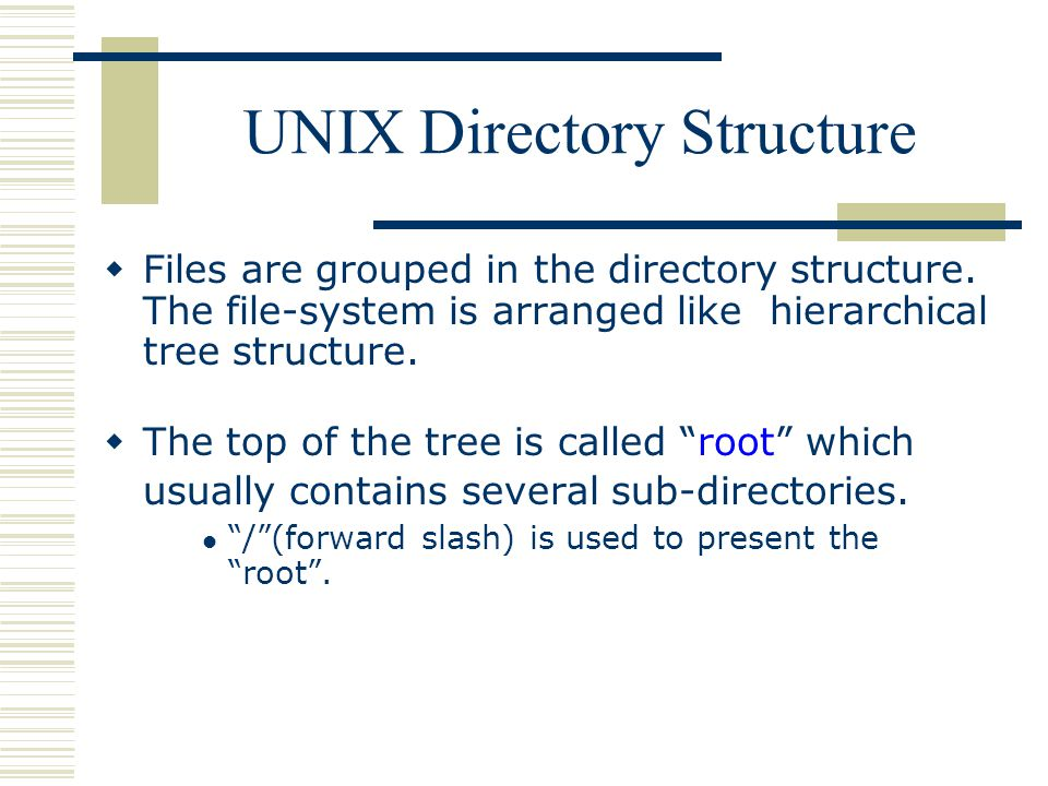 UNIX Directory Structure  Files are grouped in the directory structure.