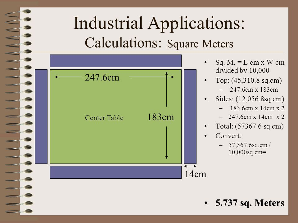 Industrial Applications Calculations Square Meters Sq
