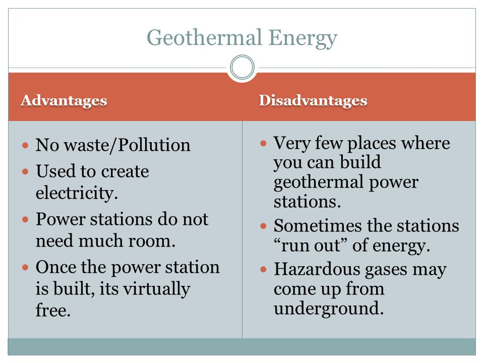 Advantages Disadvantages No waste/Pollution Used to create electricity.