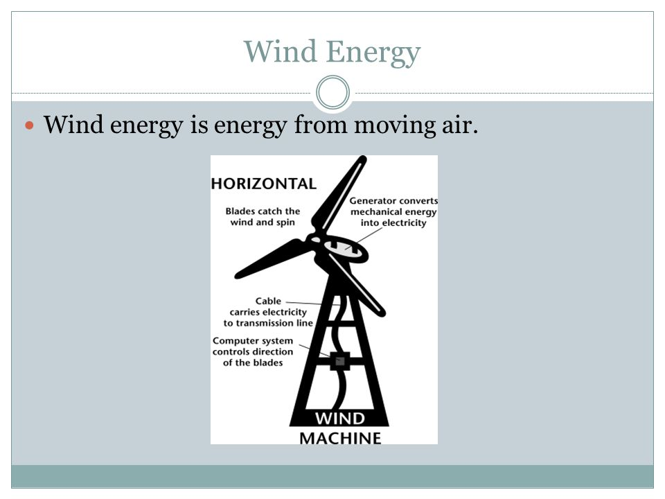 Wind Energy Wind energy is energy from moving air.